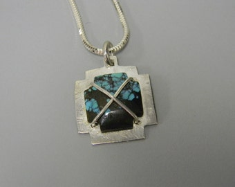 "Turquoise Cross Necklace Sterling Silver Handmade 1"" Pendant Necklace 925 for a Man or Woman"