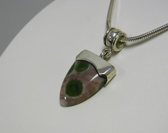 Ocean Jasper Handmade Pendant Sterling Silver Pink and Green Natural Stone Necklace