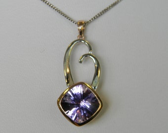 Amethyst Pendant 14k Rose Gold and White Gold Lavendar Fantasy Cut Square Cushion