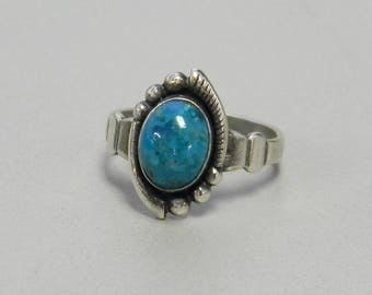 Estate Vintage Sterling Silver Chrysocolla Ring Pinky Midi Southwest