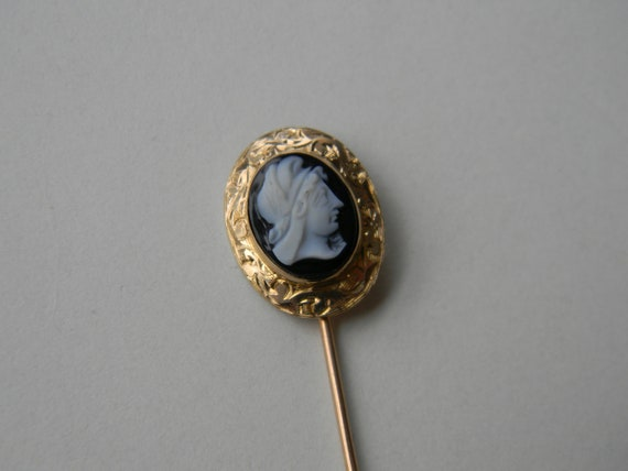 Victorian Antique Cameo Stick Pin Scarf Pin