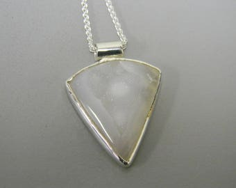 White Druzy Quartz and Sterling Silver Handmade Necklace Pendant