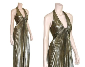 0088d5195d Vintage metallic Marilyn Monroe pin up halter dress, Vtg gold lame pleated  bombshell maxi, 80s 1980s lurex origami pinup, small s medium m