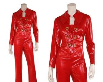 3a522f35944 70s Studio 54 red   gold wet look grommet corset fetish jumpsuit - large l  xl 1x xxl 2x