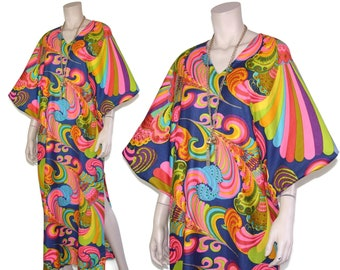 9f0329f369 60s psychedelic novelty rainbow caftan, 1960s multicolor batwing kaftan  dress, Hawaiian resort beach cruise maxi, small s medium m large l