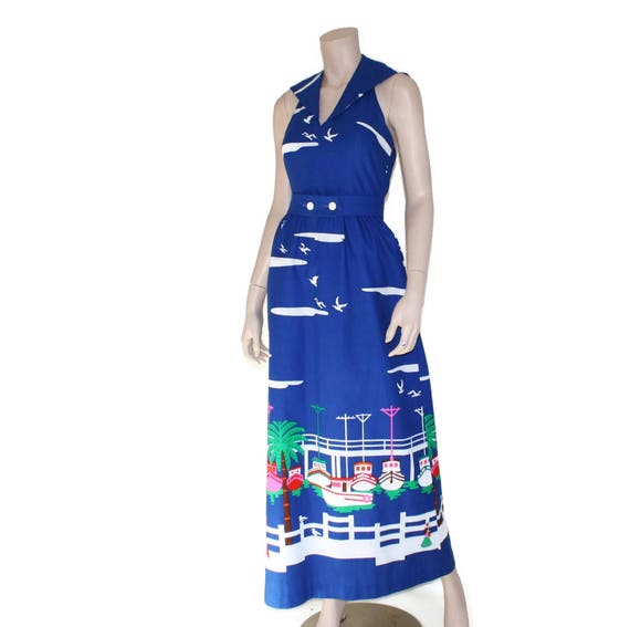 Vintage novelty sailor dress, 60s Malia pin up re… - image 5