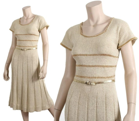 70s gold metallic knit dress - 1970s lurex gold &