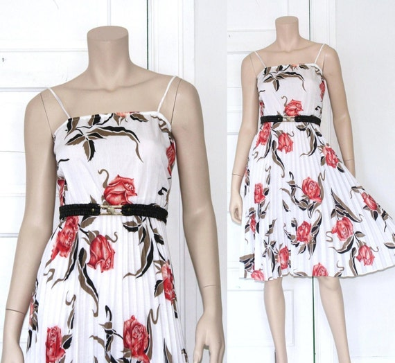 80s graphic rose garden sun dress - xs or small