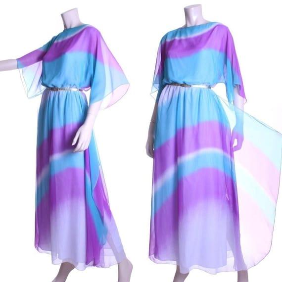 70s Hanae Mori ombre chiffon gypsy dress - small o