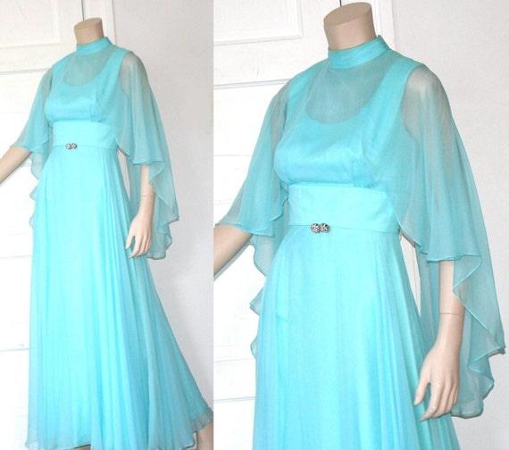 70s romantic grecian chiffon maxi dress - xs or sm