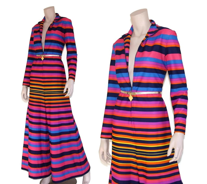 f63e2a57e003 Vintage 60s 70s pink rainbow stripe plunging palazzo jumpsuit