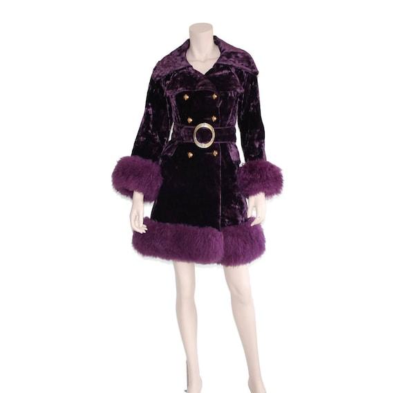 e23b32e143b Purple velvet mongolian fur coat 70s russian princess jacket