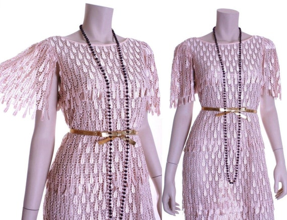 80s does 20s sheer pink champagne lace flapper dre