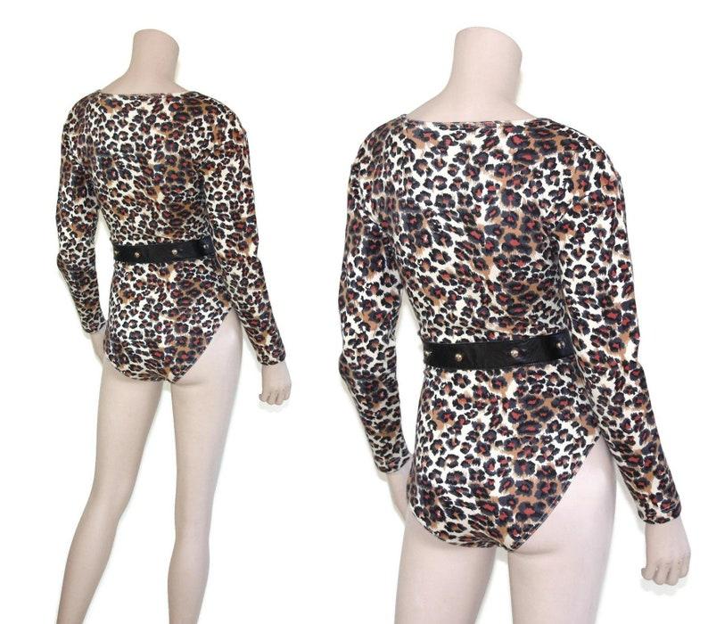 ff24ddbc1b30 80s leopard animal print leotard Vintage 1980s cotton spandex | Etsy