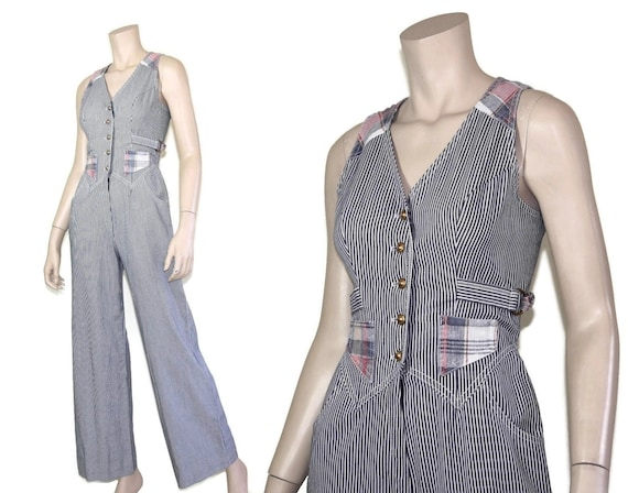 70s pinstripe plaid denim jumpsuit, 1970s western