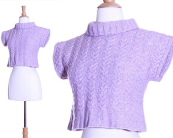 Vintage minimalist wool cable knit crop sweater - xs or small