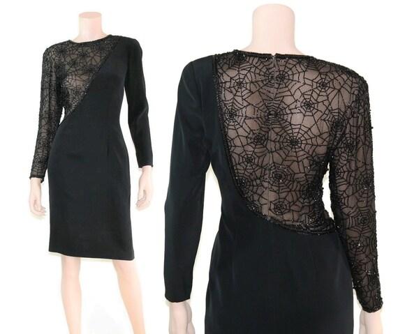 Vintage novelty illusion beaded spiderweb dress, 8