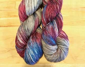 Hand-dyed Sock Yarn Variegated Plum/Blue/Gray