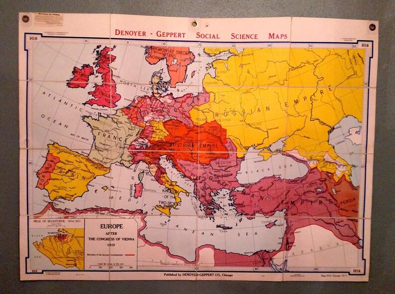 Vintage Denoyer Geppert Folding Linen School Map Europe 1815 Etsy