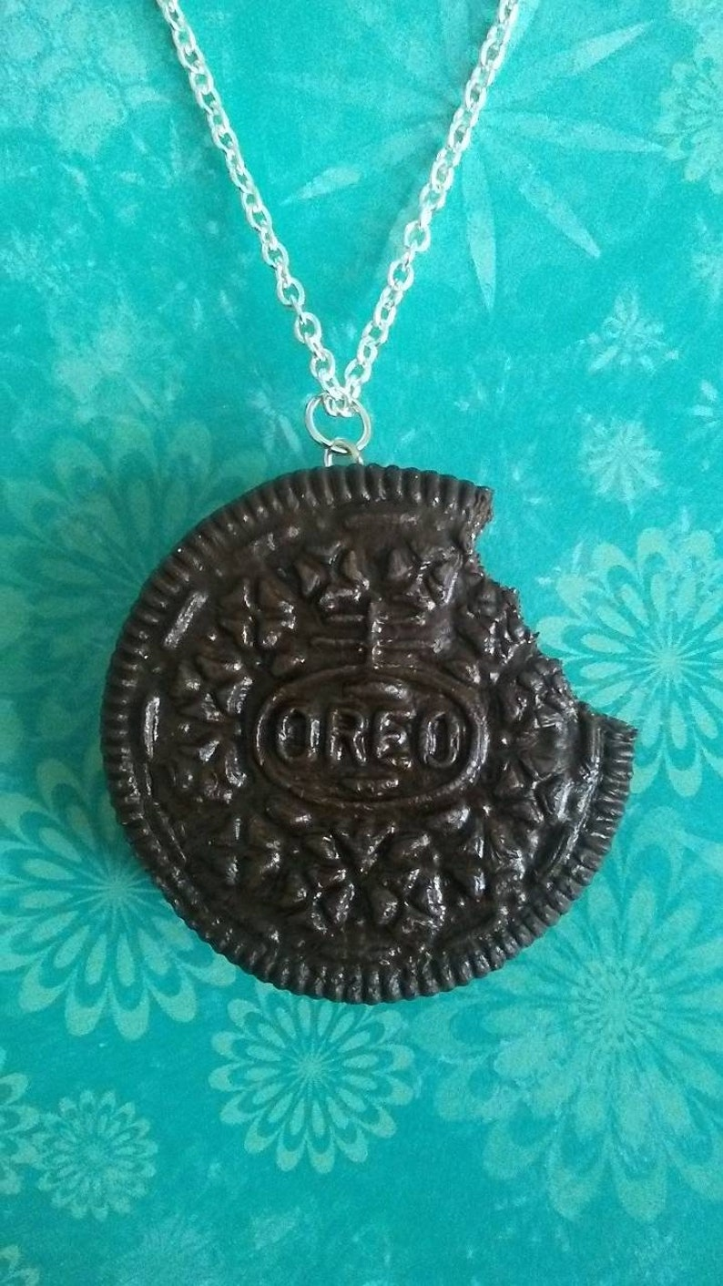 One Polymer Clay Life Size Replica Oreo Cookie Necklace Ornament Keychain Or Magnet