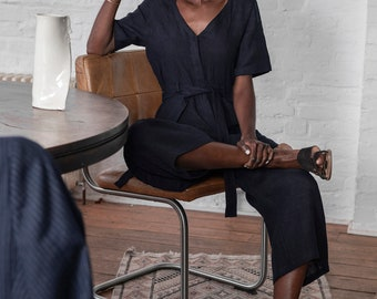Linen jumpsuit in navy blue