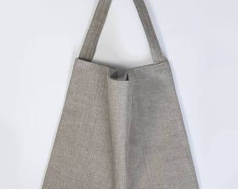 Natural linen tote bag with organic cotton lining