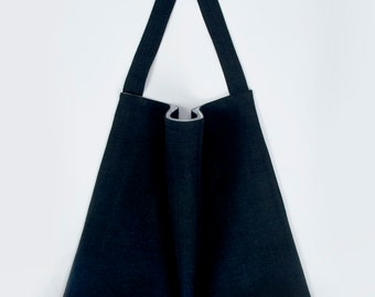 Navy linen tote bag with organic cotton lining