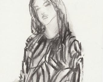 Fashion Illustration - Modern Minimalist Charcoal Drawing - Original Artwork Black-and-White - Female Figure Art - Drawing - Giftideas
