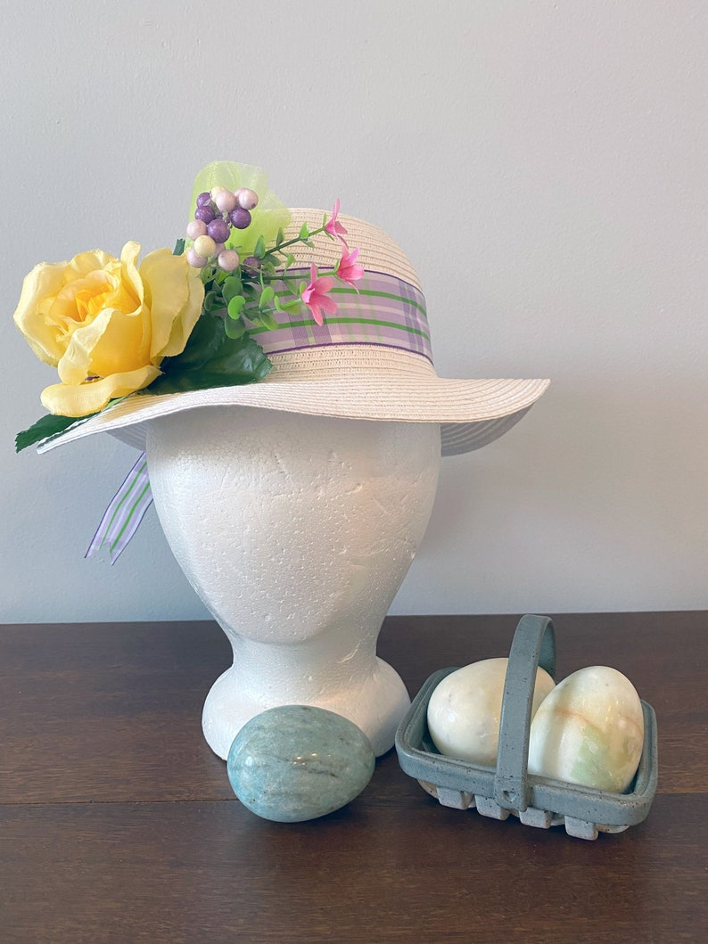 Girls Spring BonnetYellow RosePurpleLavender PlaidGreenTea Party Hat