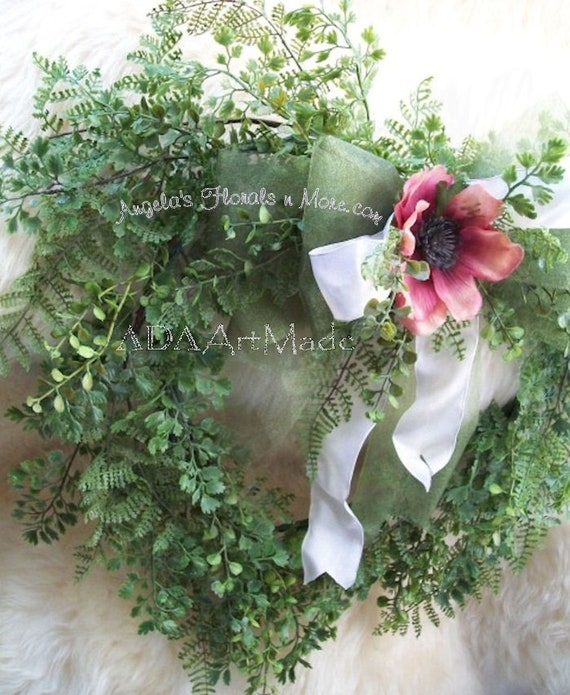 Wispy Heart Wreath Made To Order Hand Wrapped Mixed Greens Etsy