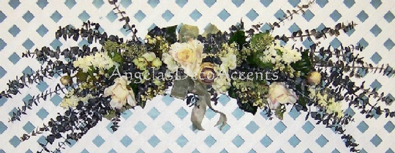 Customize Weddings Floral Eucalyptus Swag Shades of White Green Plum Shown 145 USD Custom Made Easy U PICK Style Type Color Starting @ 45