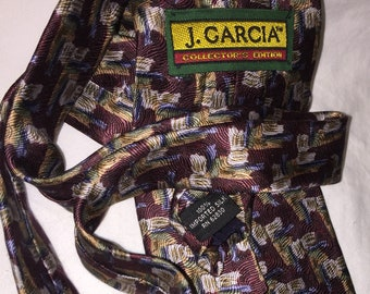 Garcia  necktie in a soft textured silk Brilliant J slate gray purple and shades of blue. Gorgeous colors