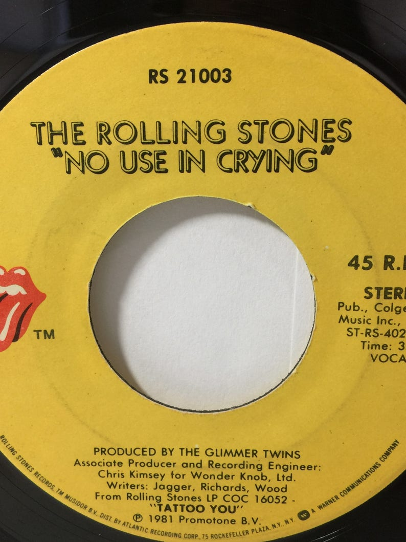 The Rolling Stones Start Me Up / No Use In Crying Vintage Vinyl 45 rpm  Record 1981 Rolling Stones Atlantic Records RS 21033