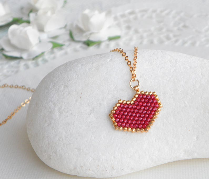fc8550945 Gold red heart necklace Red heart pendant Heart gift for | Etsy