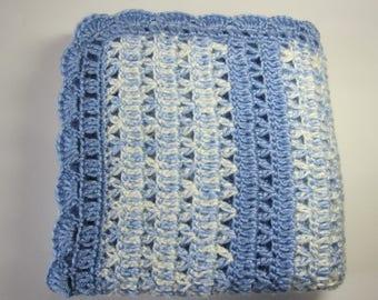 Crochet Baby Blanket, Blue Baby Blanket, Crib Bedding, Nursery Afghan, Baby Boy Blanket, Baby Gift, Baby Shower Gift, Lap Afghan