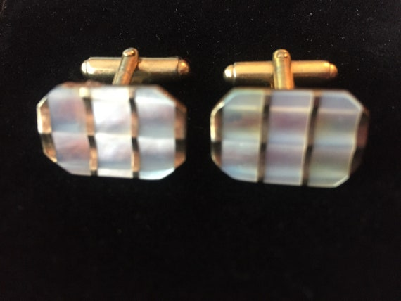 Vintage mother of pearl and copper coloured cufflinks