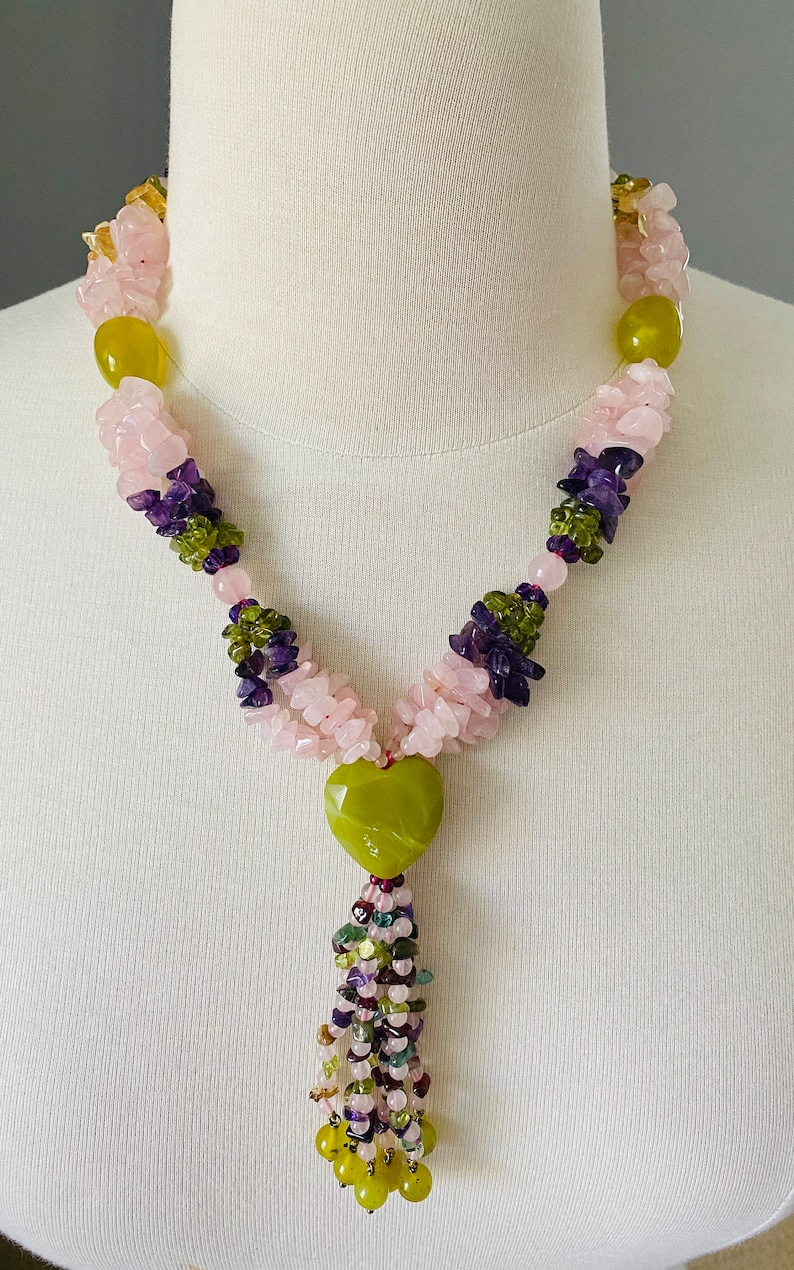 Statement Necklace From Spain Amethyst Chrysolite Multi Strand 18 Inch Long Rose Quartz
