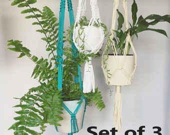 Set of 3 Macramé Plant Hangers in small, medium & large