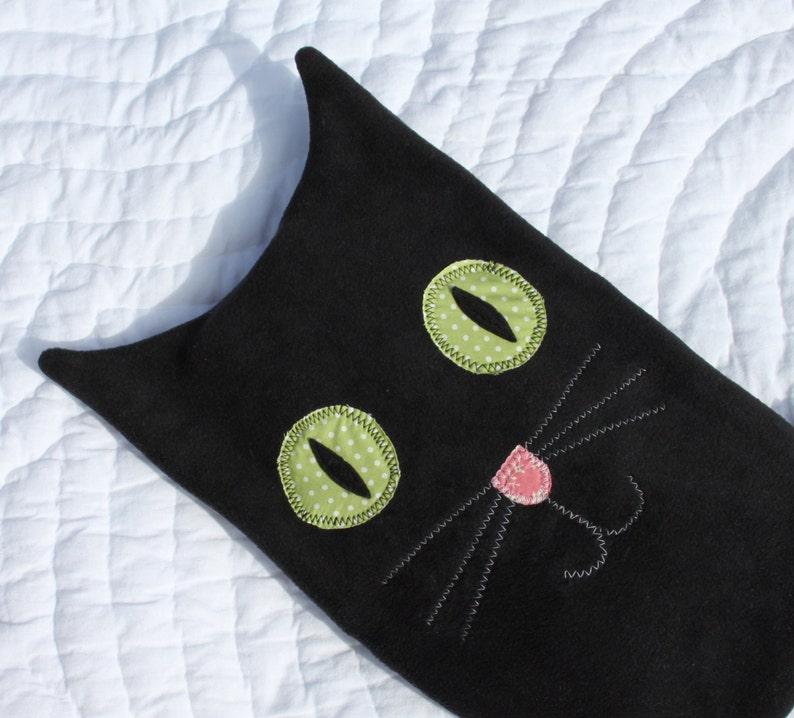 Hot water bottle cover  black cat image 0