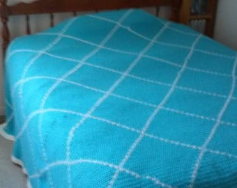 Queen/King Blanket - Crocheted, Turquoise, and, White