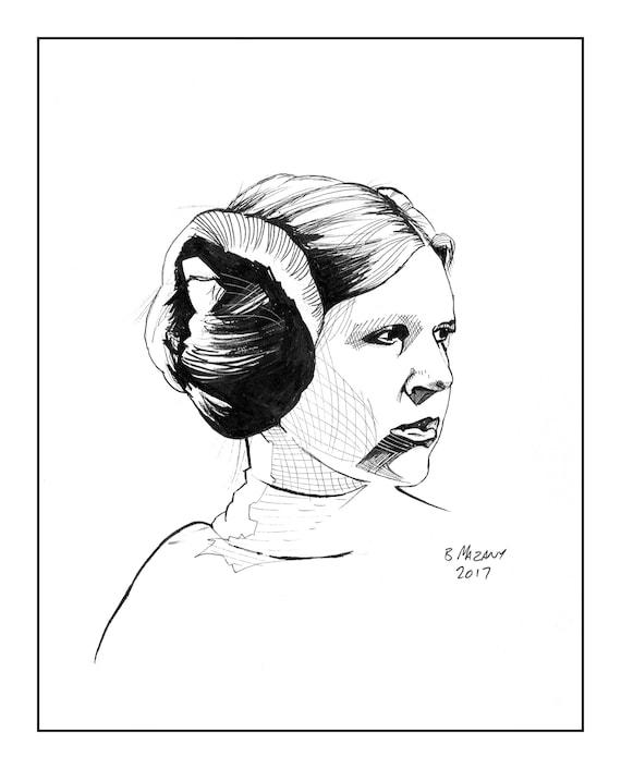 princess leia buns drawing