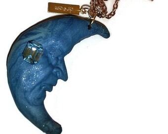 Dream Crescent Moon Necklace OOAK Crescent  Moon Wish necklace Blue Moon Necklace Statement necklace Gem moon gold dream inspire necklace