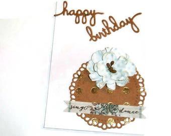 Birthday Card Fancy White Floral Blank Inside Girl For Her