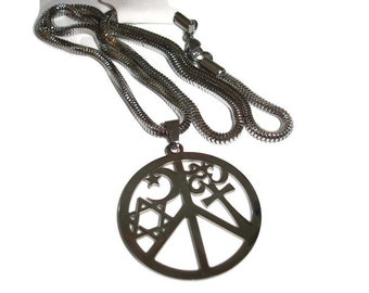 Coexist pendant etsy coexist necklace peace necklace steel coexist pendant coexist for him spirituality necklace many faiths interfaith 22in chain large peace aloadofball Gallery