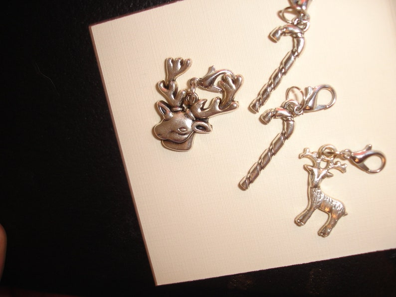 Holiday charm set 4 pc candy cane reindeer charms with clips
