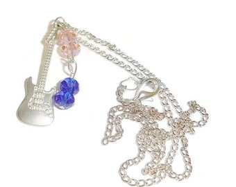 Guitar and Crystal Dangle Necklace