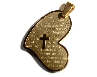 Heart Pendant Valentine Gift Valentine Day Gift Heart Gift Religious Heart Pendant Religious pendant cross padre nuestro Stainless Heart