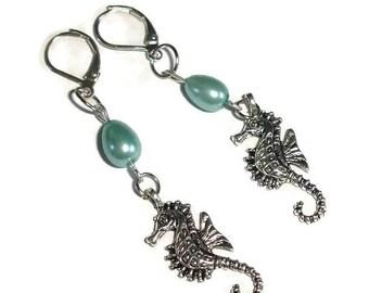 Seahorse dangle earrings nautical earrings seahorse dangles oceanic dangles pearl sea horse earrings beach earrings blue green earrings gift