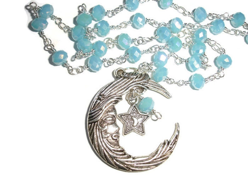 Moon necklace Dangle Moon Necklace Crescent Moon Blue crystal Moon Statement necklace metaphysical necklace Gift for her Gift for Girlfriend