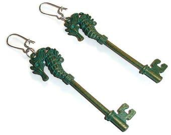 Seahorse dangle earrings nautical earrings seahorse dangles oceanic dangles patina earrings unusual earrings very long earrings wife gift